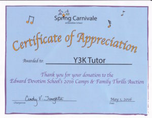 Y3K Tutor In Your Home Certificate
